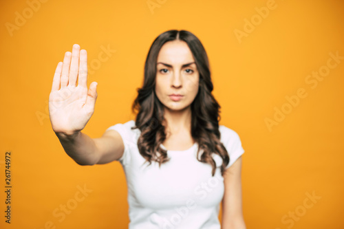 Don't do it! An admonishment of a girl with very angry face which is telling us about some dangerous result of an action Canvas Print