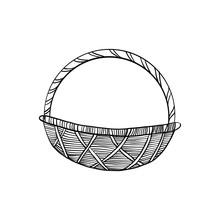 Decorative Wicker Basket Hand Drawn Vintage Symbol Of Happy Easter, Vector Ink Sketch Illustration Isolated On White, Line Art Retro Element For Design Scrapbook, Greeting Card, Wedding Invitation