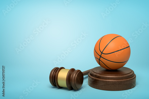 Fotografie, Tablou  3d rendering of basketball on sounding block with judge gavel lying beside on light-blue background
