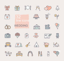 Wedding Icon Set. Line Colored Symbols. Vector Icons