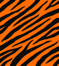 Vector Seamless Pattern Of Black And Red Tiger Zebra Stripes Print Fur Isolated