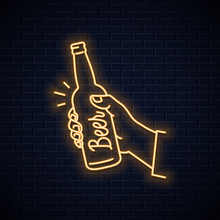 Hand Hold Beer Bottle Neon Sig...