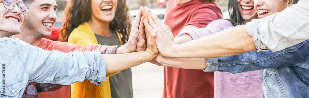 Fototapety, obrazy: Group of diverse friends stacking hands outdoor - Happy young people having fun joining and celebrating together - Millennials, friendship, empowering, partnership and youth lifestyle concept