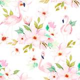 Lato bezszwowy wzór. Kwiatowy nadruk z flamingiem. Akwarela. Ilustracji wektorowych - 261763935