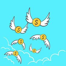 Dollars Money Coins With Wings...