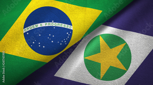 Fotografie, Obraz  Mato Grosso state and Brazil flags textile cloth, fabric texture