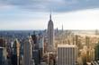 New York City. Manhattan downtown skyline at sunset