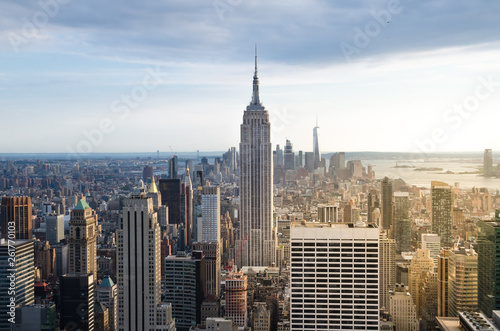 Poster New York New York City. Manhattan downtown skyline at sunset
