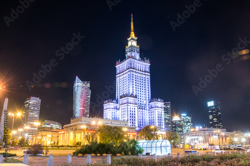 The Palace of Culture and Science, one of the symbols of Warsaw, Poland. Night view.