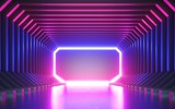 Fototapeta Perspektywa 3d - 3d render, abstract neon background, blank frame, virtual reality screen, ultraviolet spectrum, laser show, fashion podium, club stage, floor reflection