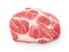 Top View Of Raw Fresh Pork Neck Steak