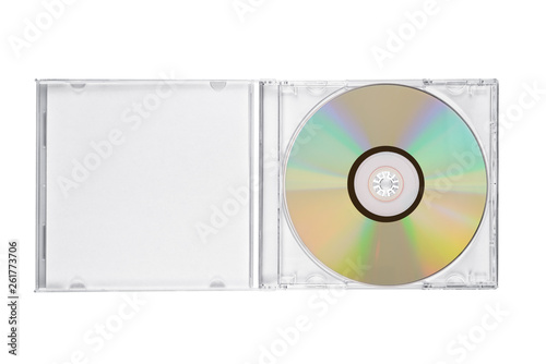 Fotografering Jewel case with compact disc isolated