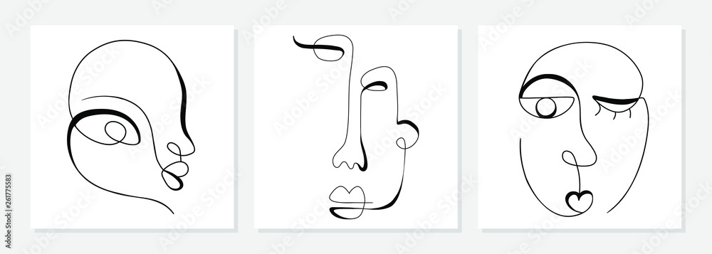 Fototapeta One line drawing abstract face. Modern single line art man and woman portrait, minimalist contour. Great for home decor such as posters, wall art, tote bag, t-shirt print, sticker, mobile case. Vector - obraz na płótnie
