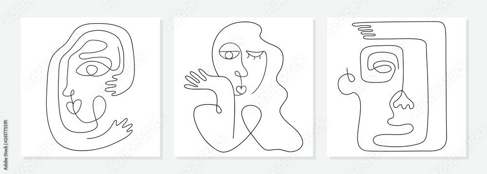 Fototapeta One line drawing abstract face. Modern continuous line art man and woman portrait, minimalist contour. Great for home decor such as posters, wall art, tote bag, t-shirt print, mobile case. Vector
