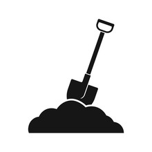 Shovel In Soil Icon. Vector. Flat Design. Isolated.