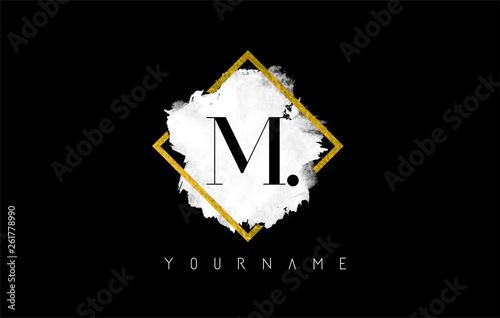 Fototapeta  M Letter Logo Design with White Stroke and Golden Frame.