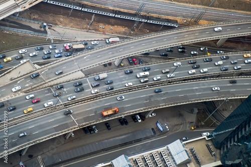 Fotografía  Top view to part of city road network