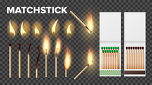 Burning Matches In Matchbooks, Flame Vector Set. Burnt Matches Stages Isolated Cliparts Pack. Wooden Matchsticks, Lighter With Fire On Transparent Background. Matchboxes Realistic Illustration