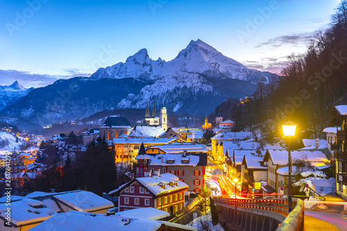 Photo  Historic town of Berchtesgaden with famous Watzmann mountain in the background,