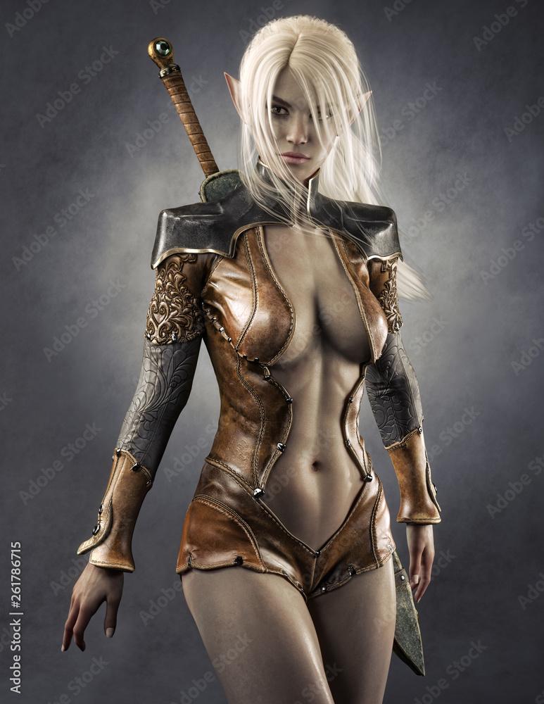 Fototapeta Portrait of a fantasy dark elf female warrior with white long hair. 3d rendering . Fantasy illustration