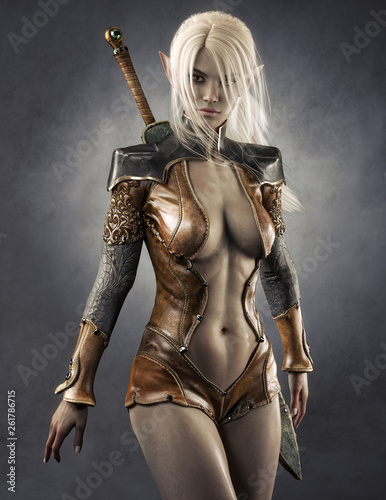 Portrait of a fantasy dark elf female warrior with white long hair. 3d rendering . Fantasy illustration