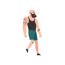 Muscular Brutal Bald Bearded Man, Attractive Tattooed Guy Wearing Black Sleeveless Shirt And Shorts Vector Illustration