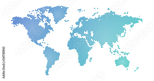 Black halftone dotted blue gradient world map. Vector illustration. Dotted map in flat design. Vector illustration isolated on white background