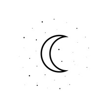 Moon And Stars Sign Icon. Element Of Weather For Mobile Concept And Web Apps Icon. Outline, Thin Line Icon For Website Design And Development, App Development