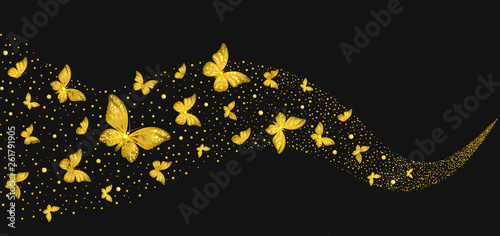 Fototapeta  Decorative Golden Butterflies in the Stream