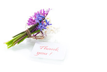 Spring Beautiful Flowers Of A Hyacinth With A Thank You Card
