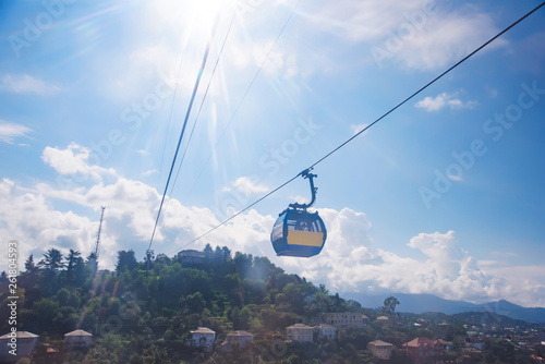 Türaufkleber Gondeln Cable car Argo in Batumi. Panoramic view of the city from the cabin. Rest in Georgia. Tourist transport. Climb to the observation deck.