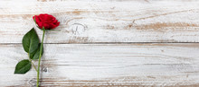 Anniversary Background With A Single Red Rose On White Weathered Wood