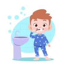 Kid Boy Brushing Teeth Vector ...