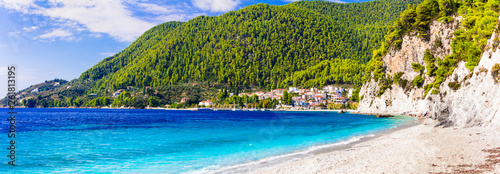 Best island and beaches of Greece- green Skopelos , Hovolos beach