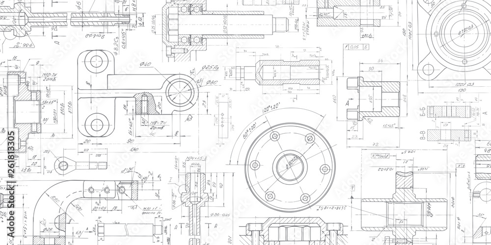 Fototapeta Technical drawing background .Mechanical Engineering drawing.