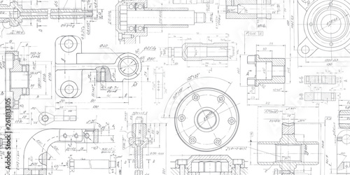 Fotomural  Technical drawing background .Mechanical Engineering drawing.