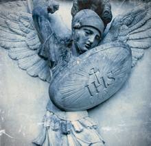 Saint Michael Struggles With Evil. Fragment Of Antique Statue. Good Triumphs Over Evil Concept.