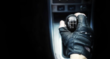 Gear Lever. Manual Transmission. Hand On The Gear Shift In The Car.