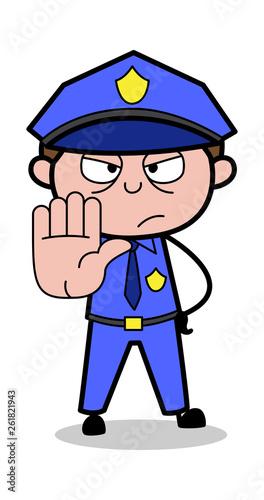 Stop Gesture - Retro Cop Policeman Vector Illustration Wallpaper Mural