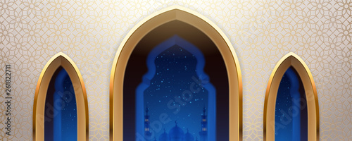 Leinwand Poster Arab mosque with windows or arabic church wall with view on islam city at night