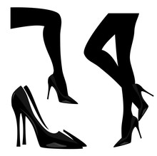 Woman Wearing High Heeled Pump Shoes Black And White Vector Silhouette Design Set