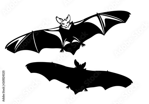Evil Vampire Bat With Spread Wings Halloween Monster Black And White Vector Outline And Silhouette Buy This Stock Vector And Explore Similar Vectors At Adobe Stock Adobe Stock