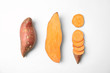 Composition with sweet potatoes on white background, top view
