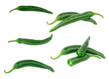 Set Green Hot Pepper Isolated On White Background