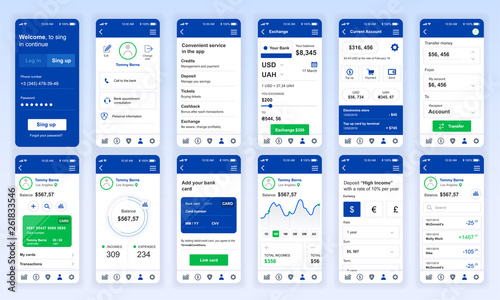 Fotografía  Set of UI, UX, GUI screens Banking app flat design template for mobile apps, responsive website wireframes