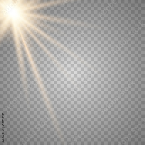 Fototapeta Glowing sunlight a transparent background. obraz na płótnie