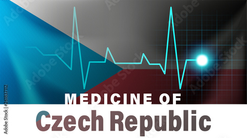 Photo  Czech Republic flag and heartbeat line illustration