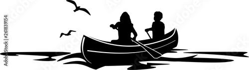 Leinwand Poster Canoe Paddle SIlhouette