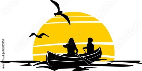 Slika na platnu Canoe Paddle SIlhouette