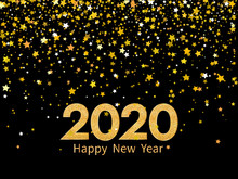 2020 Happy New Year. Golden Numbers And Stars On Dark Background. New Year 2020 Greeting Card.